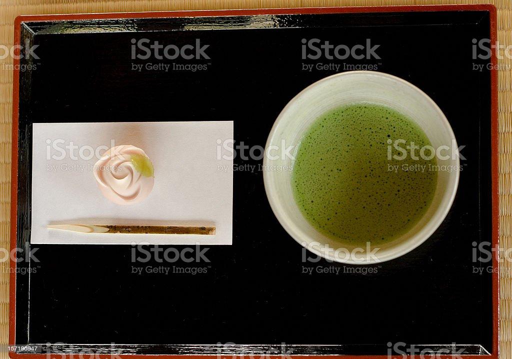Green tea and japanese cake stock photo