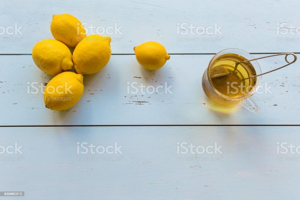 Green Tea and lemons stock photo