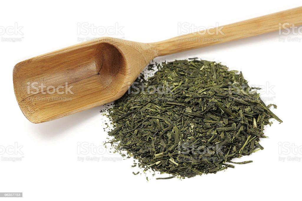 Grüner Tee und Kochlöffel Lizenzfreies stock-foto