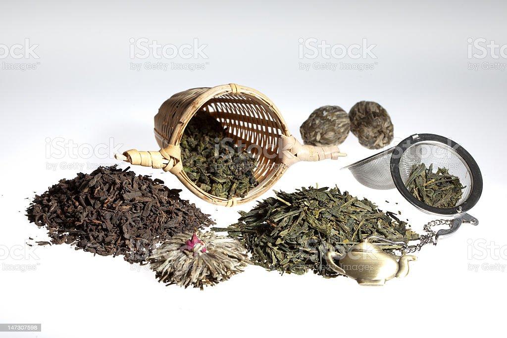 Green tea assortment stock photo