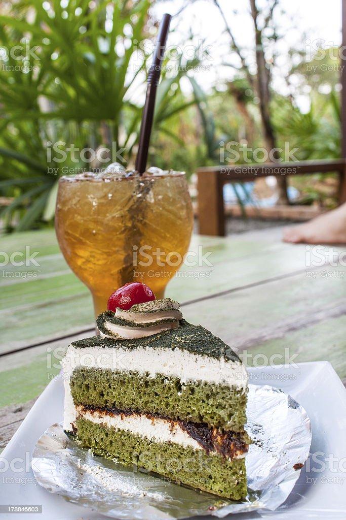 Green tea cake royalty-free stock photo