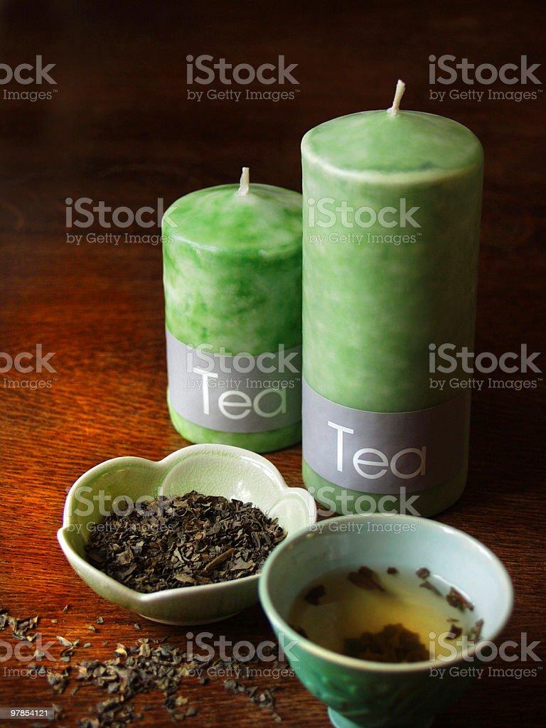 green tea candles royalty-free stock photo