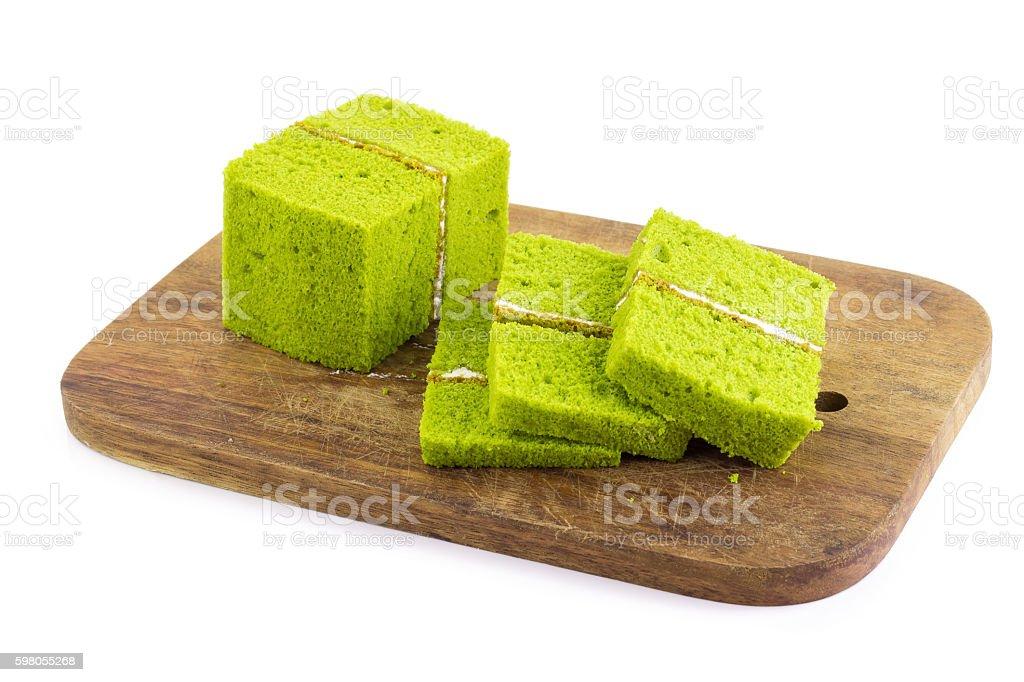 green tea chiffon cake stock photo