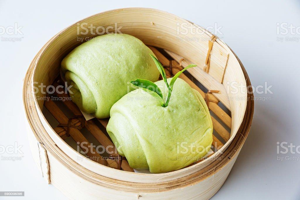 green tea Chinese steamed bun (Mantou). stock photo