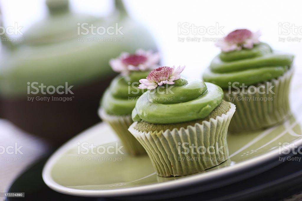 Green Tea Cupcakes & Teapot stock photo