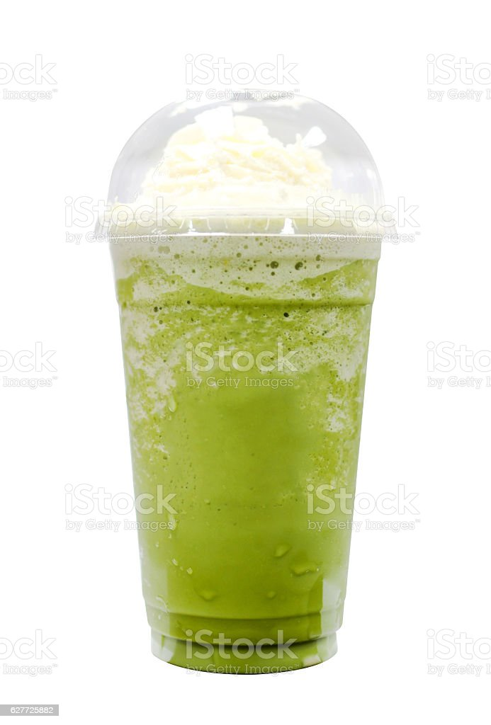 Green tea frappe isolated on white background stock photo