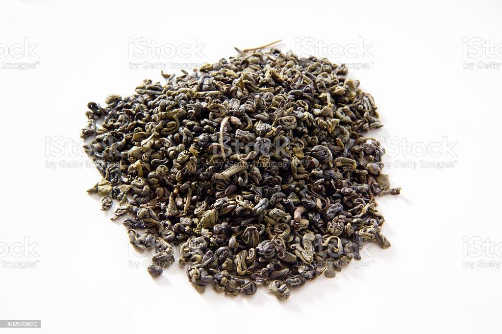Green tea, gunpowder tea, white background stock photo