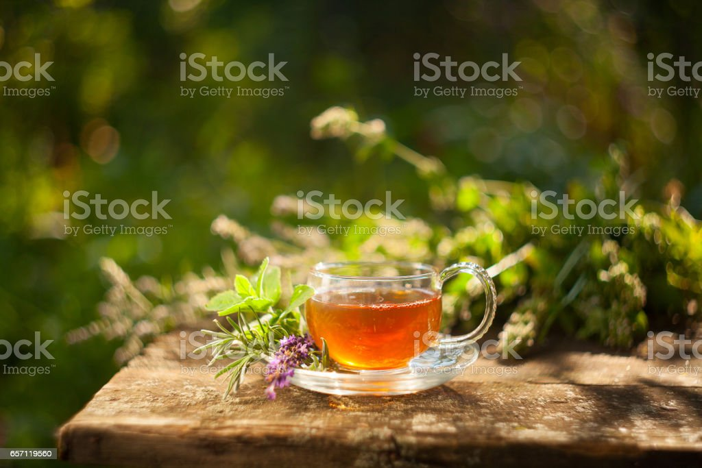 green tea in beautiful cup stock photo