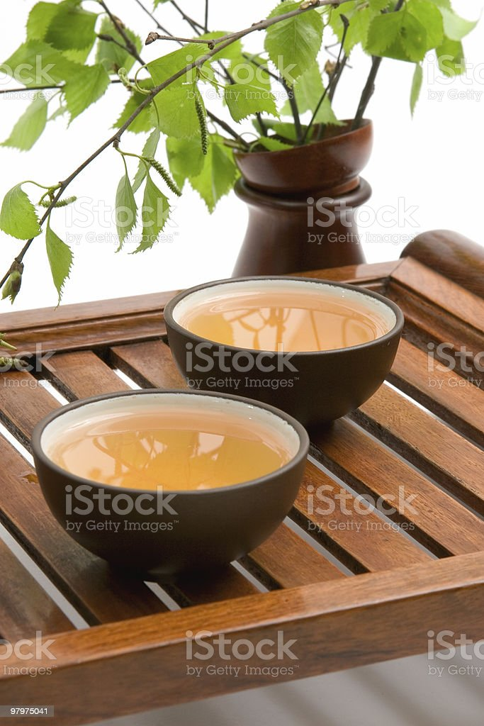 green tea in brown cups royalty-free stock photo