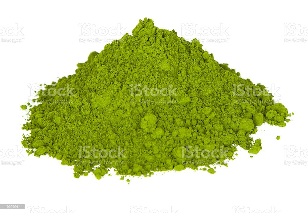 Green tea in powder form stock photo