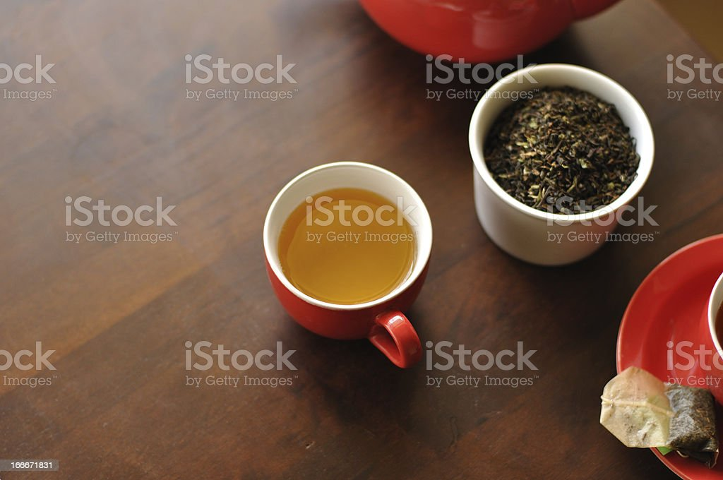 Green Tea in red cups royalty-free stock photo