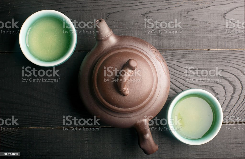 Green tea in the tea cups stock photo