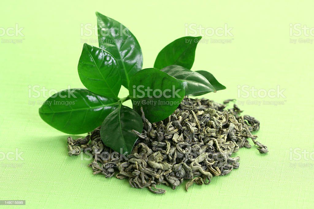 Green tea leaves on a green background royalty-free stock photo