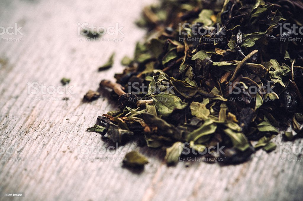 Green Tea Loose Leaf stock photo