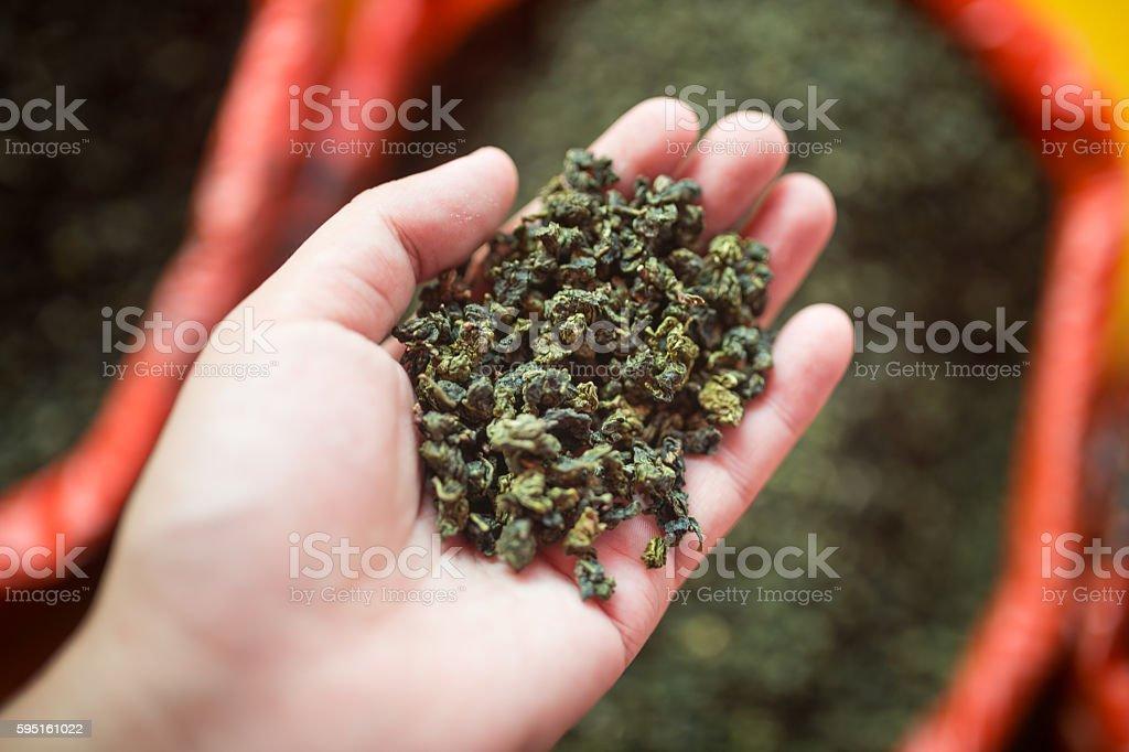 green tea macro shot stock photo