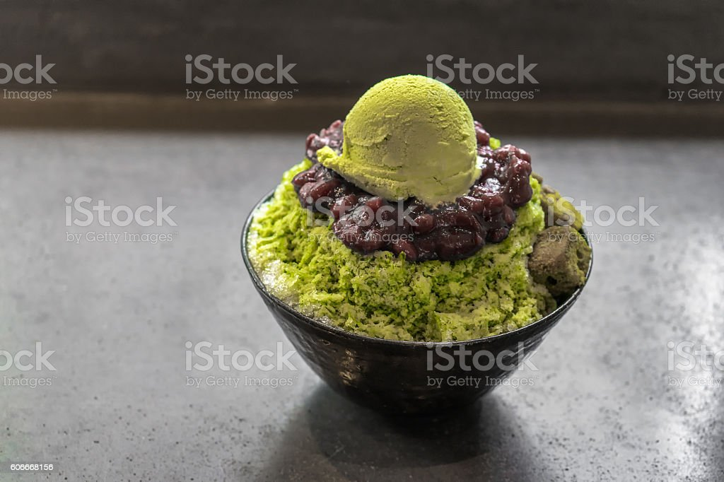 Green tea matcha ice cream stock photo