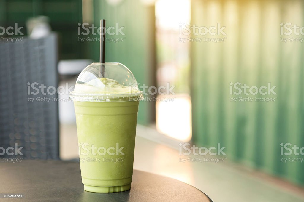 Green tea matcha smoothies. stock photo
