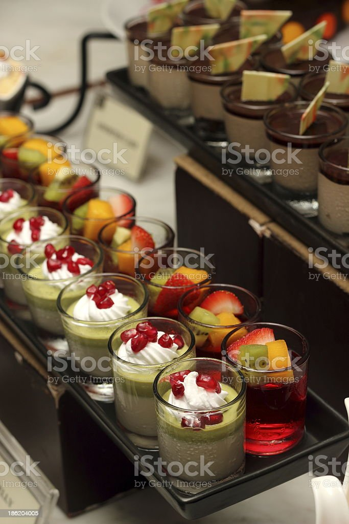 Green tea mousse dessert in a glass royalty-free stock photo