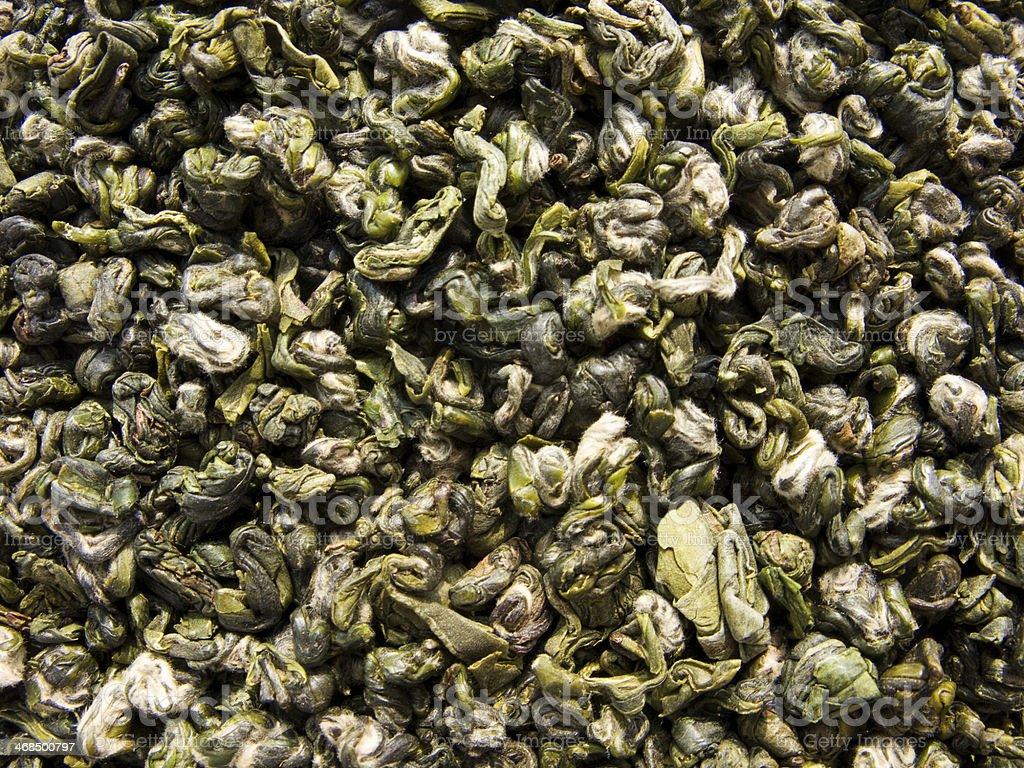 Green tea named Green Monkey - dry leaves stock photo