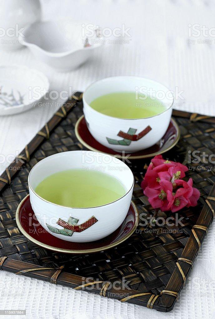 Green Tea on a bamboo mat royalty-free stock photo