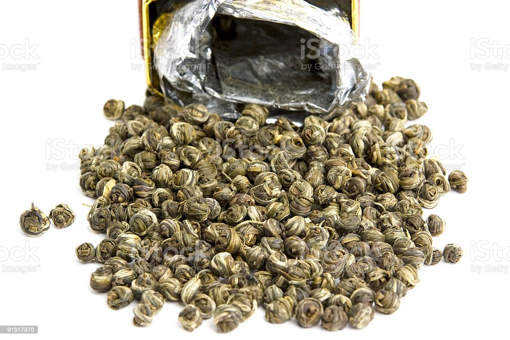 Green Tea pearls isolated royalty-free stock photo