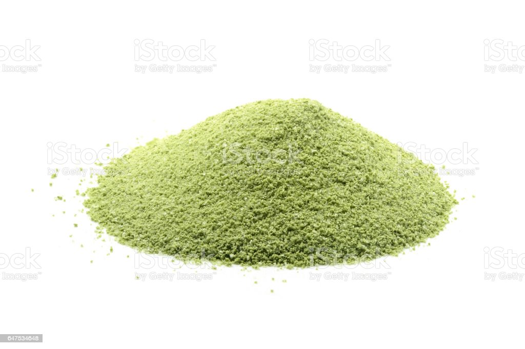 Green tea powder on white stock photo