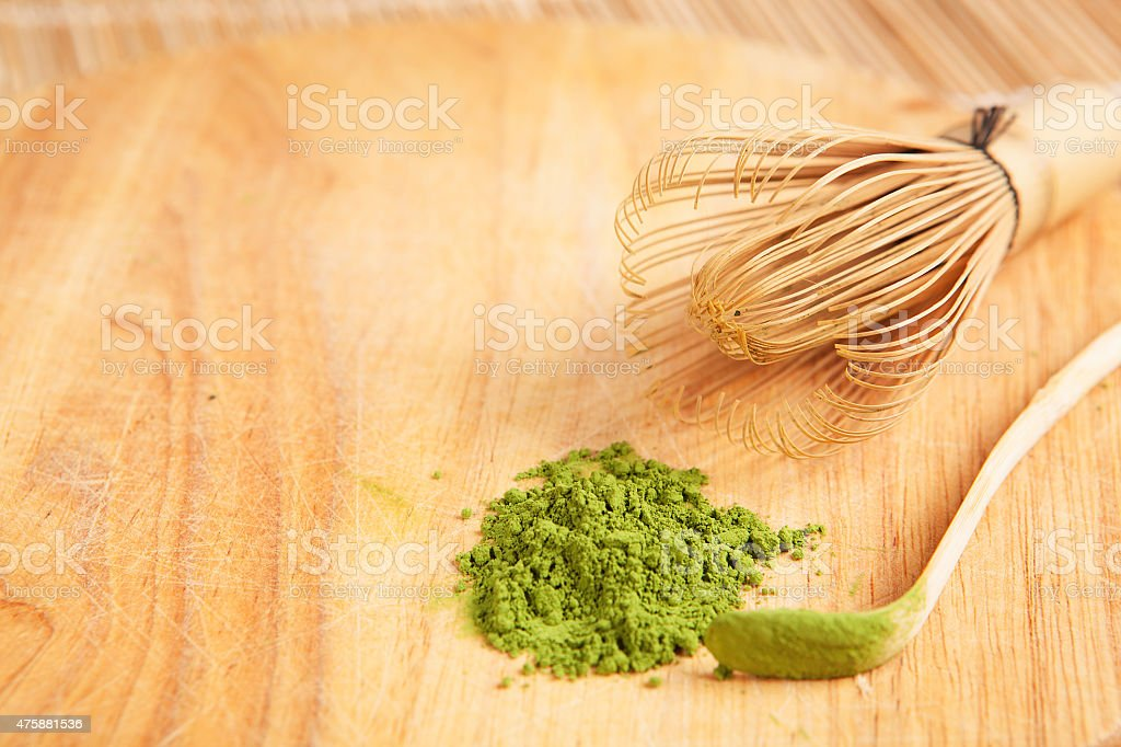 green tea powder stock photo