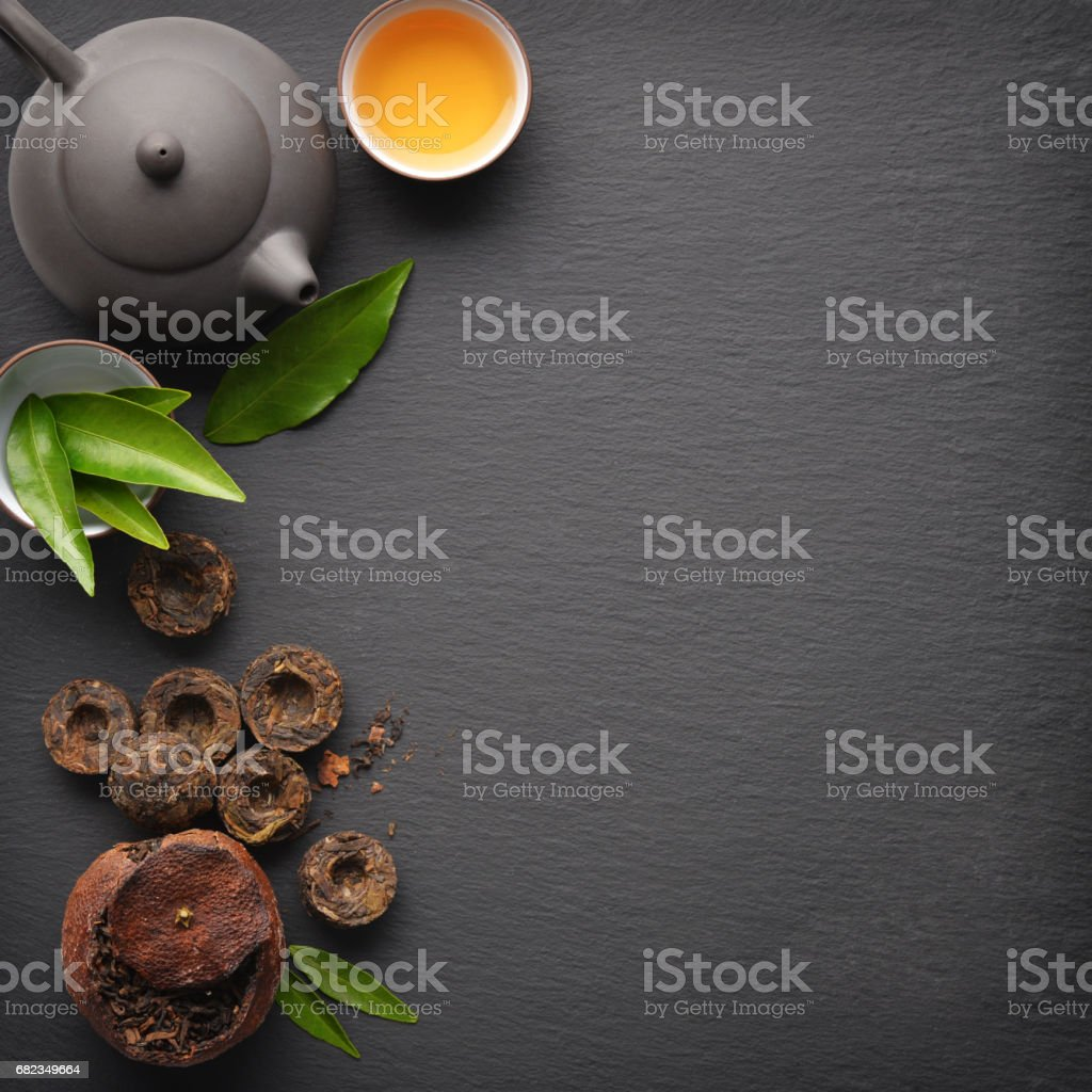 Green tea pu-erh stock photo