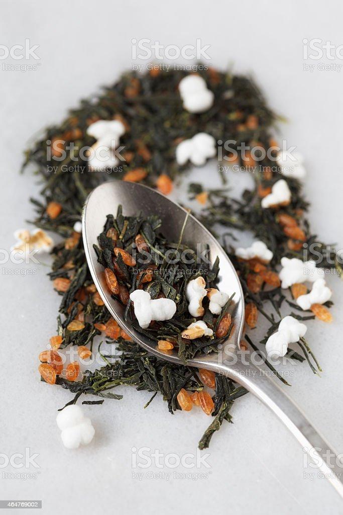 Green tea, tea type Genmaicha stock photo