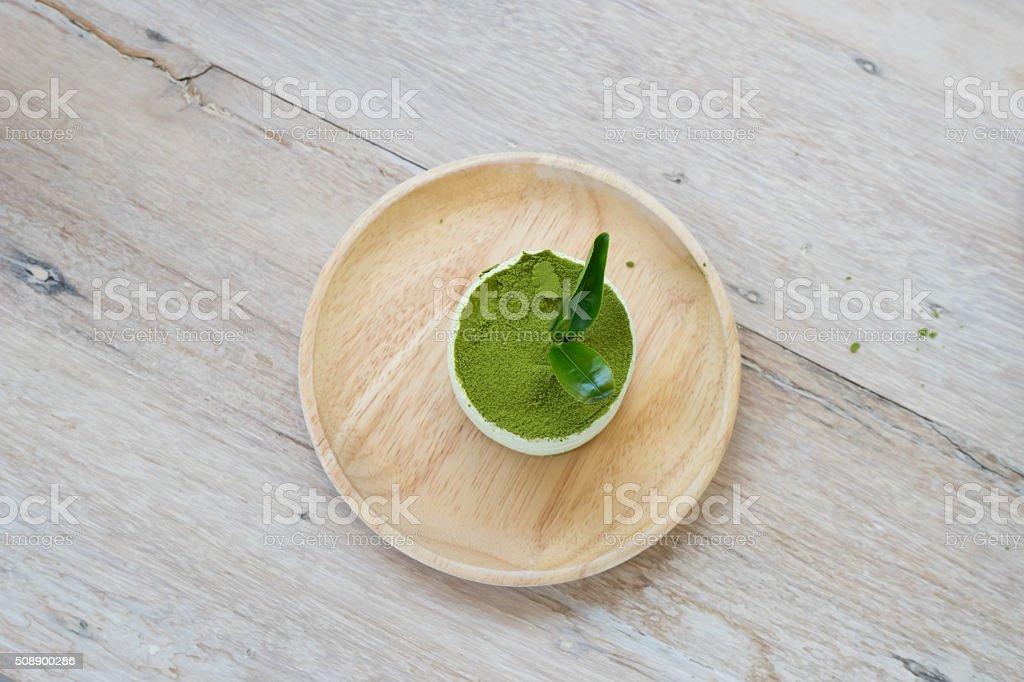 green tea tiramisu with green tea powder stock photo