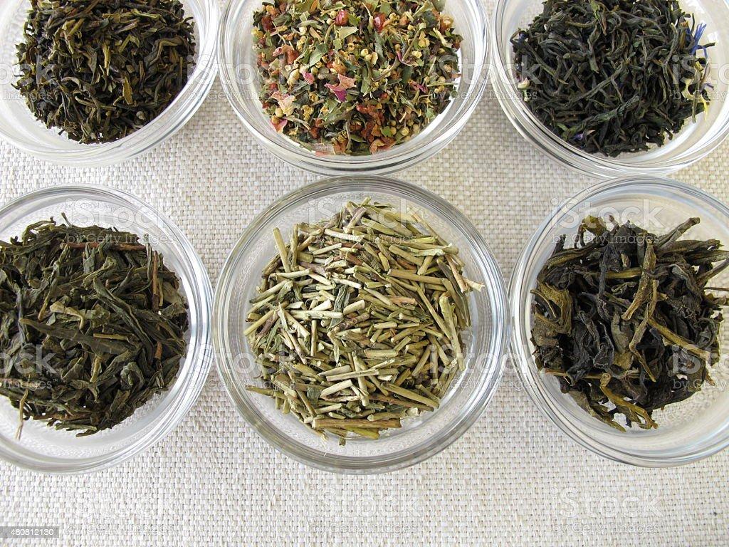 Green tea varieties stock photo