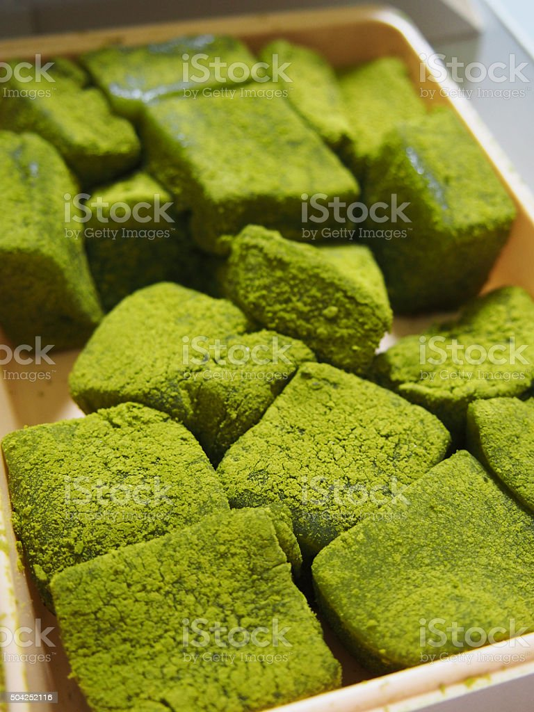 Green tea Warabi Mochi stock photo