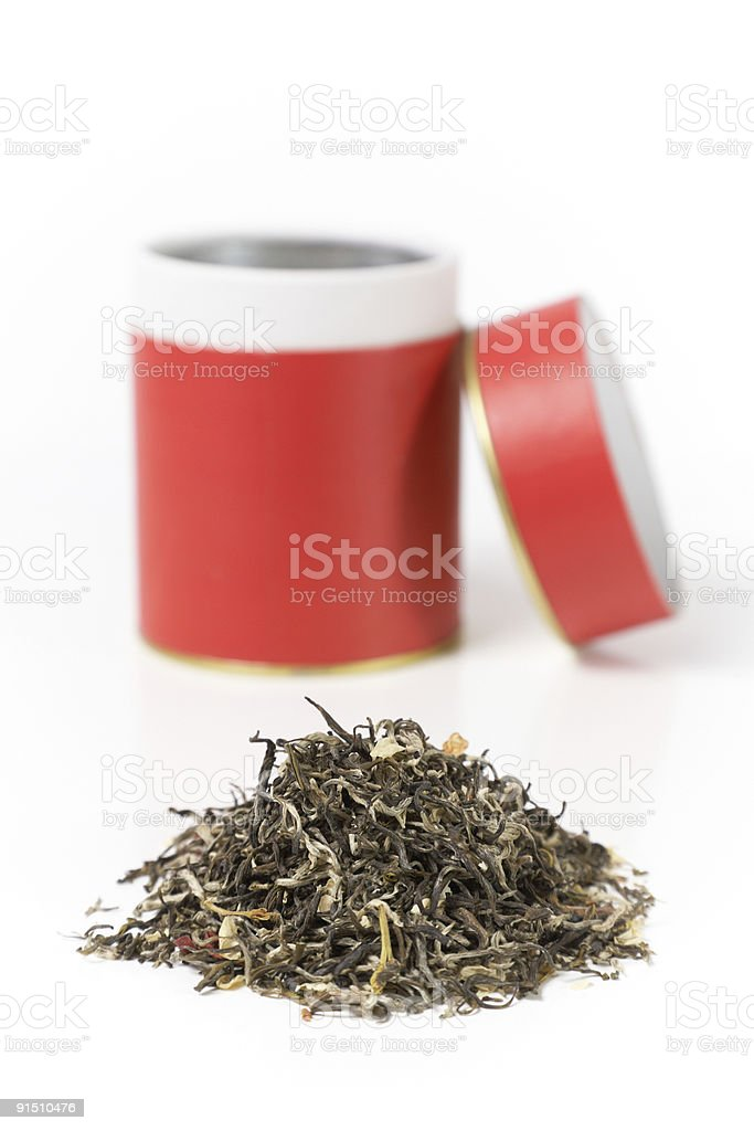 green tea with can royalty-free stock photo