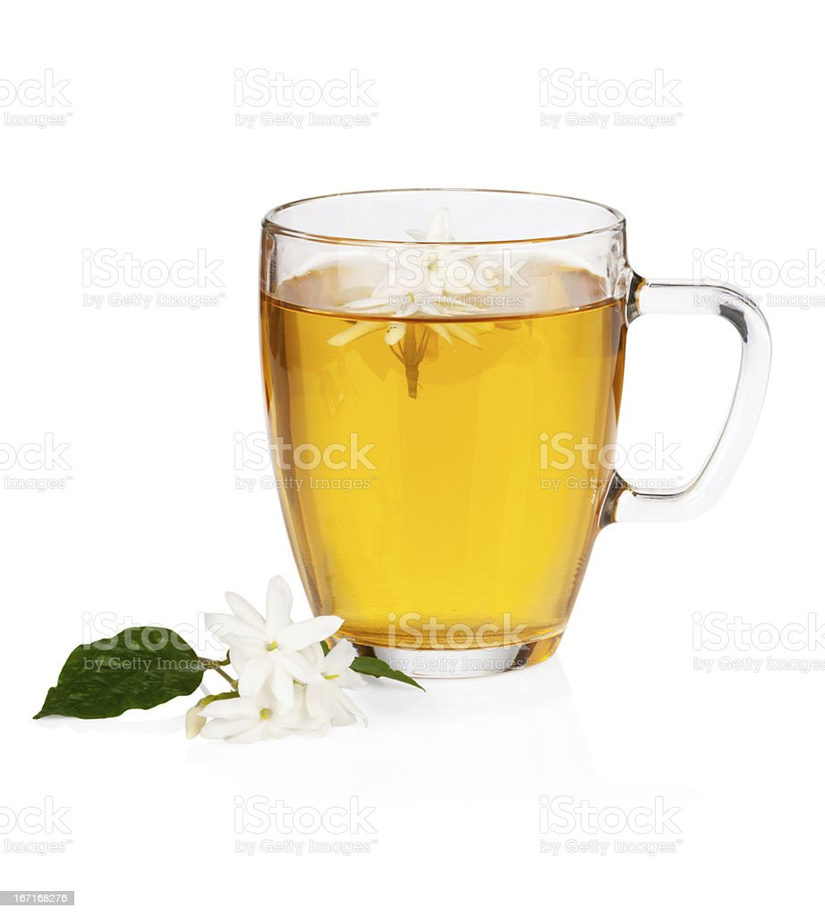 Green tea with jasmine flowers over white royalty-free stock photo