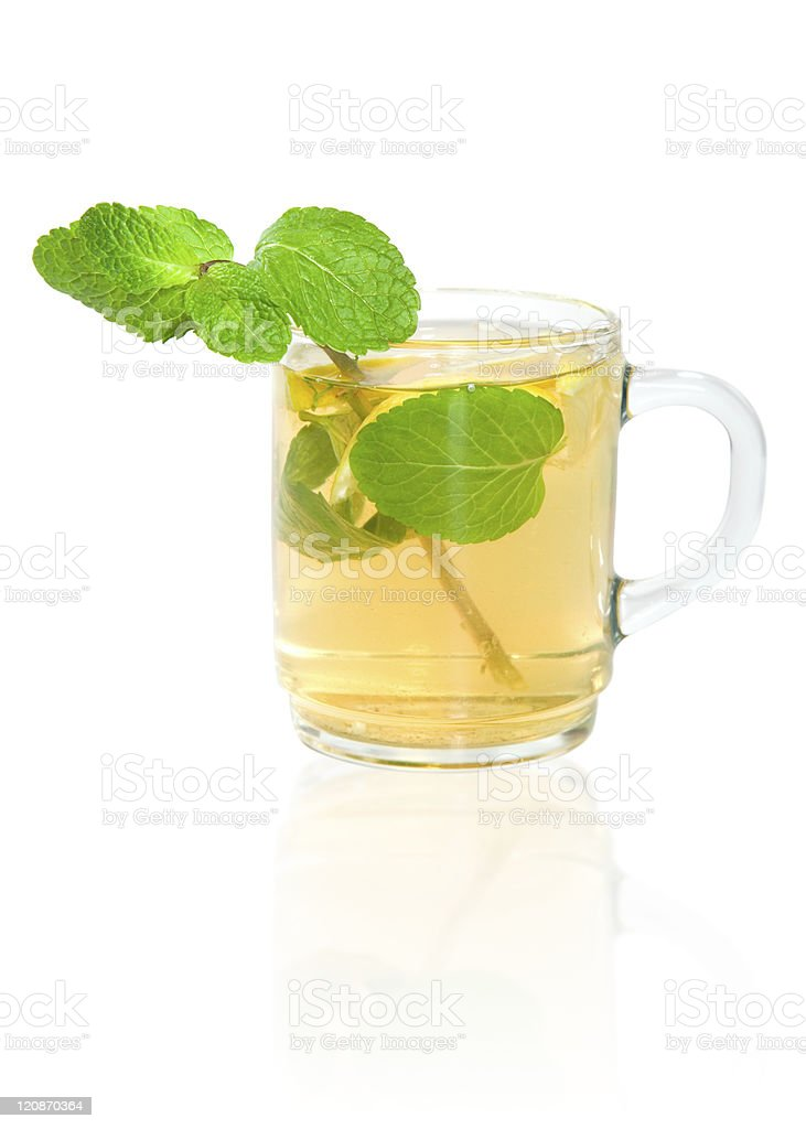 Green tea with lemon and mint royalty-free stock photo