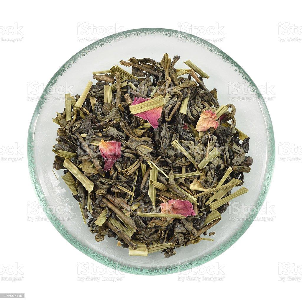 Green tea with lemon grass and rose petals. stock photo