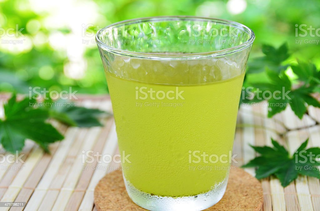 green tea with maple leaf royalty-free stock photo