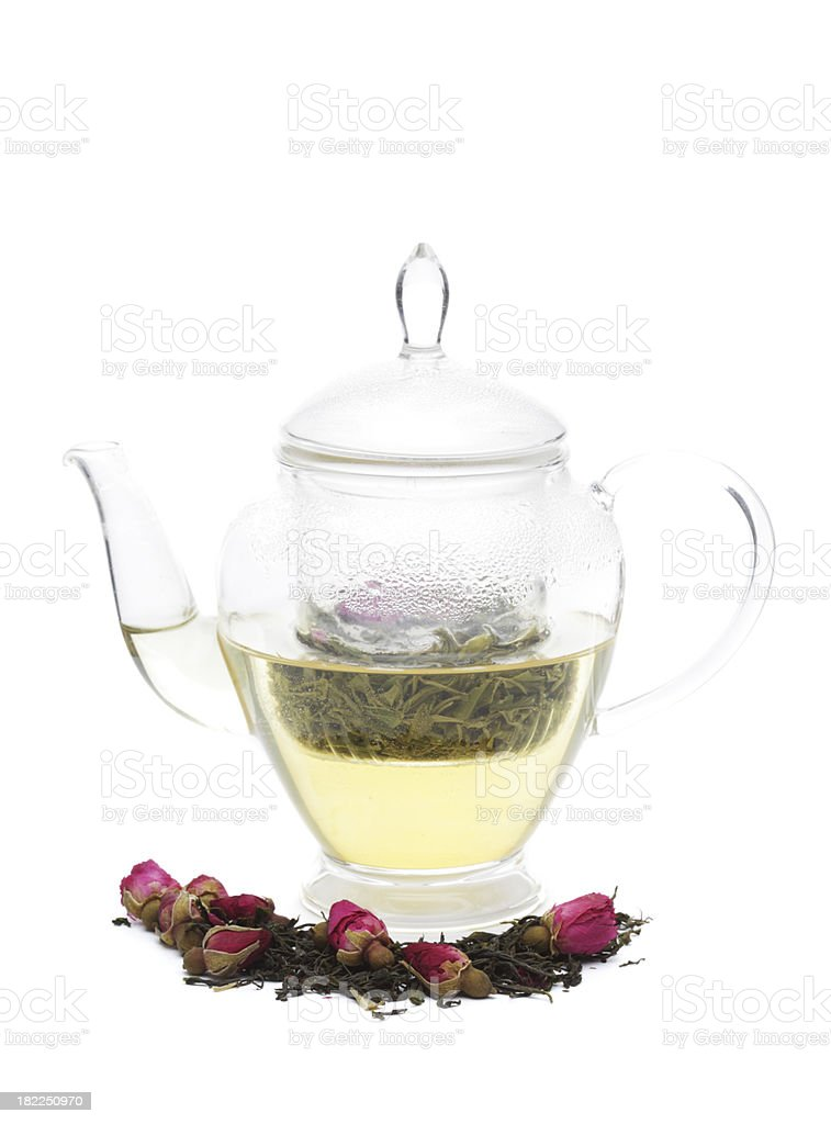 Green Tea with Rosebuds royalty-free stock photo
