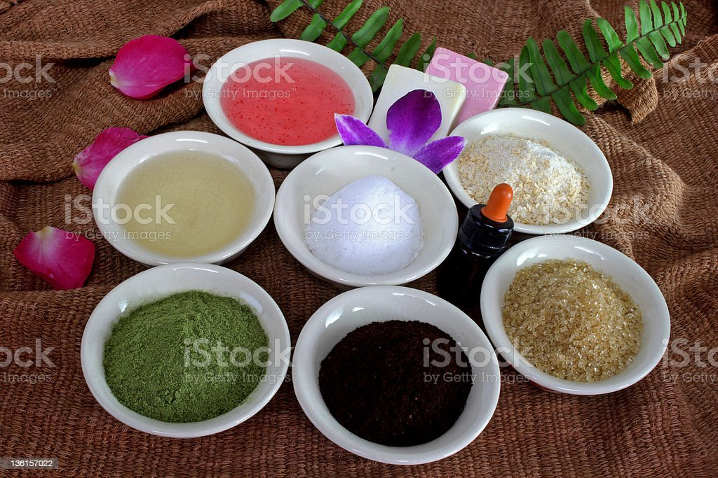 green tea,oat,coffee,honey,sugar scrub..Spa at Home royalty-free stock photo