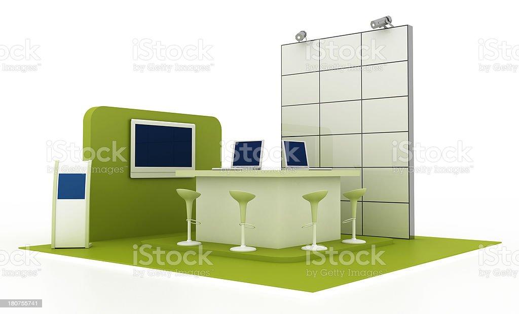 Green technological trade show stock photo