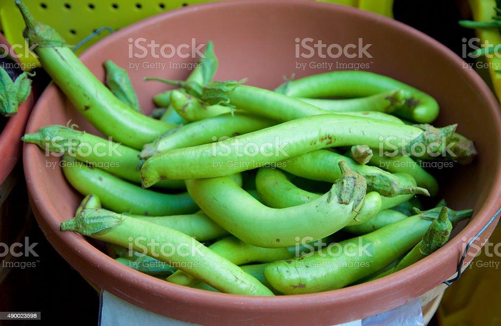 Green Thai eggplant stock photo