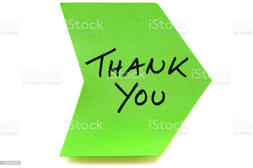 Green Thank You arrow post-it note stock photo