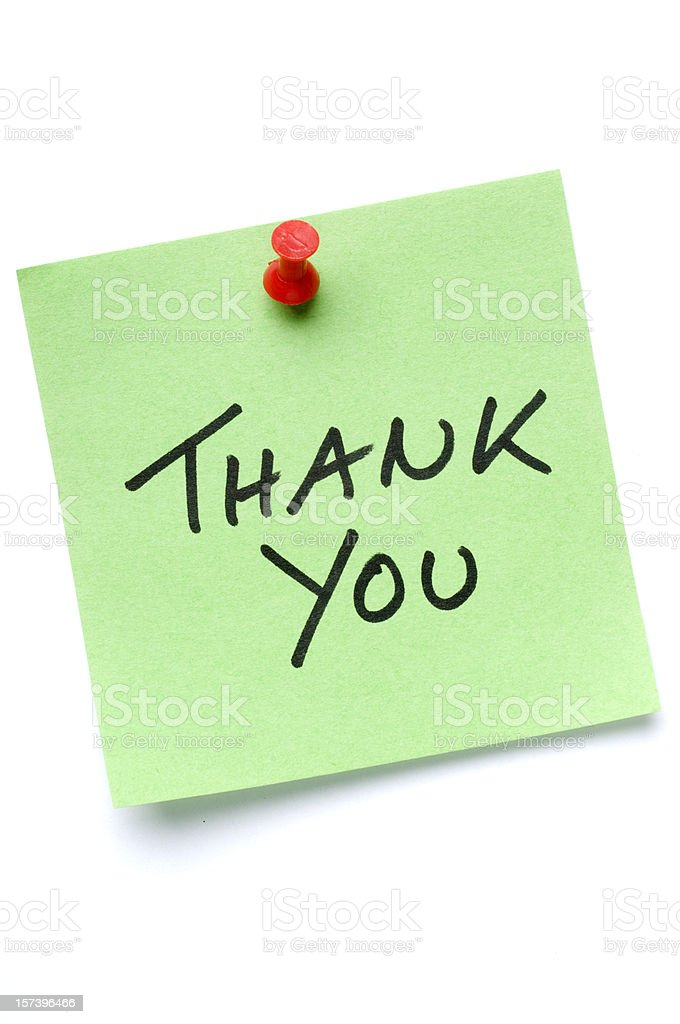 Green Thank You Post-It Note stock photo