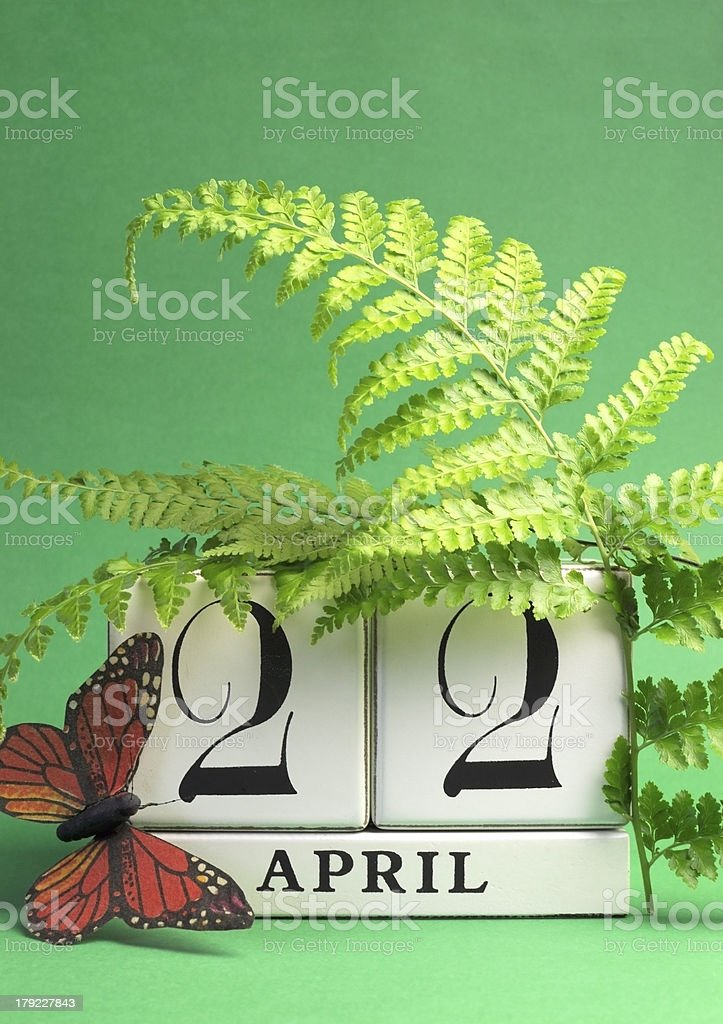 Green theme Earth Day, save the date calendar, April 22 stock photo