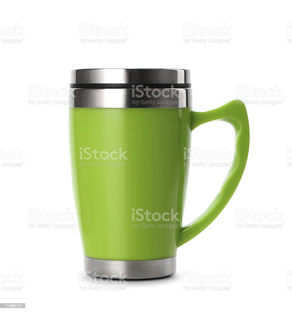Green thermos stock photo