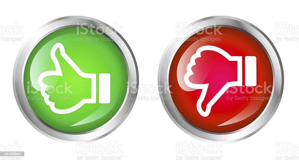 Green thumbs up and red thumbs down buttons stock photo