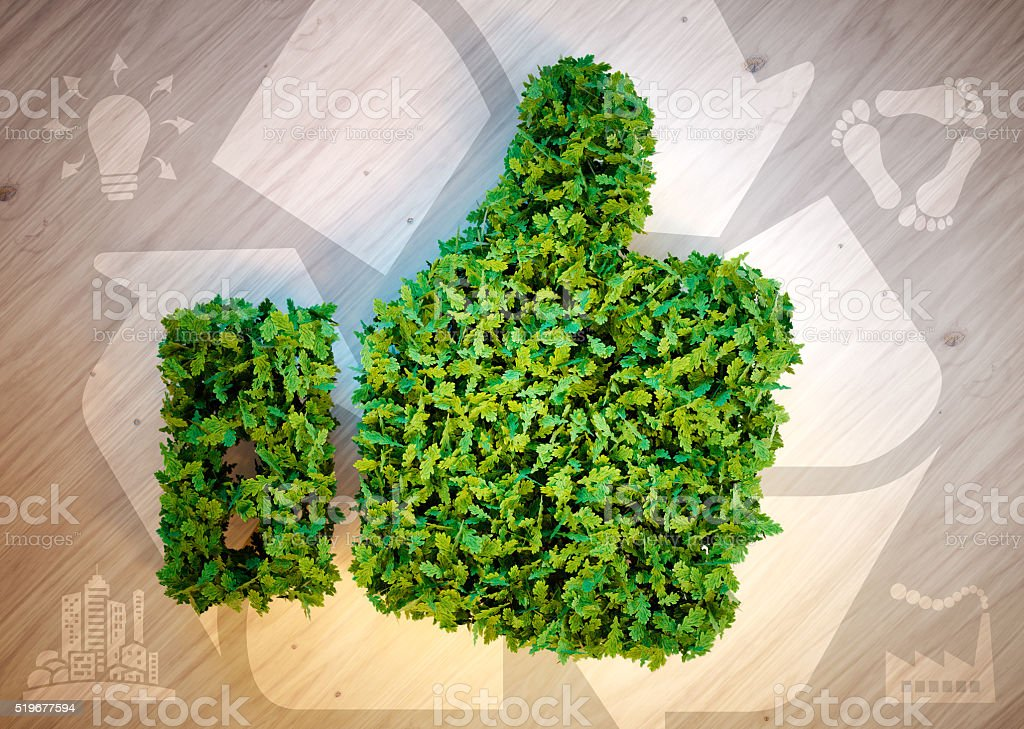 Green thumbs up with eco icons. stock photo