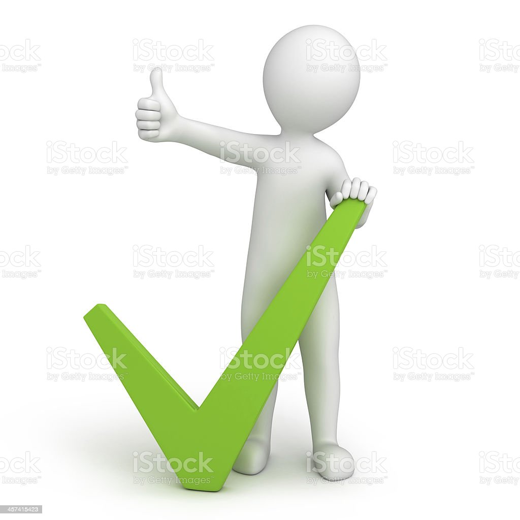 green tick and 3d human with a thumb up stock photo