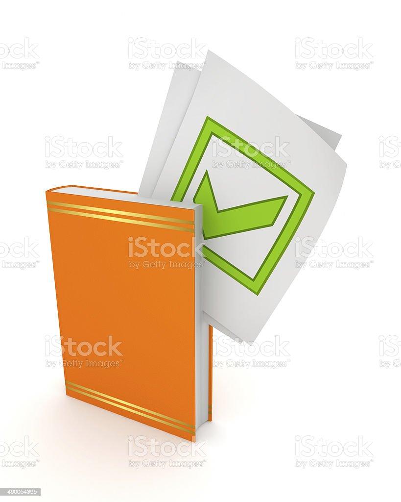 Green tick mark in orange book. royalty-free stock photo