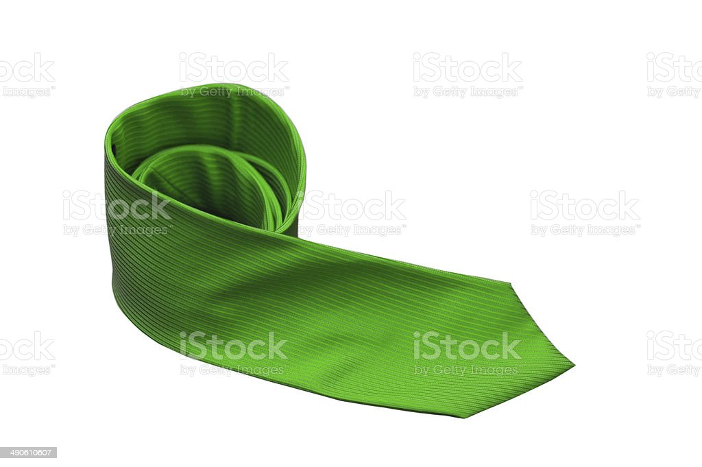 green tie isolated on a white background royalty-free stock photo